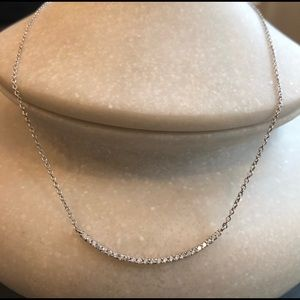 Jewelry - ❤️NWT Silver Curved Micro Pave CZ Bar Necklace❤️